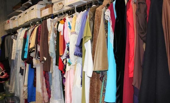 Costumes hanging on a rack