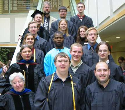 Graduates lined up on a staircase