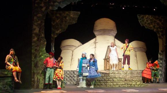 A group of actors dressed in fairytale costumes and standing onstage