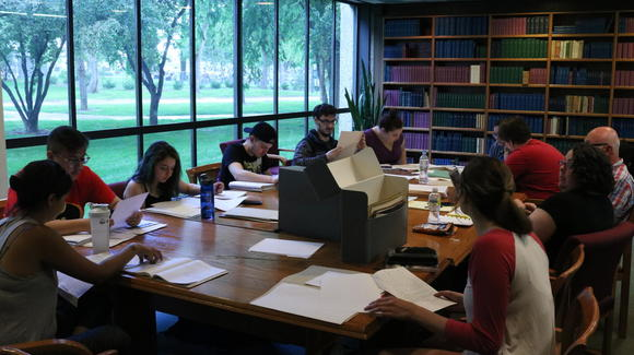 Field school session in library's McGinnis Room
