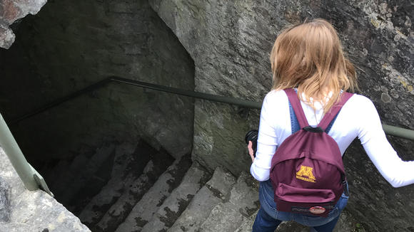 Student walking down a stone staircase