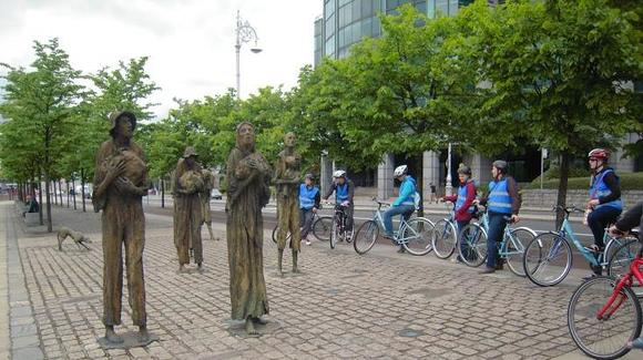 At the Great Famine Memorial, Dublin, Ireland (UMM Study Abroad Trip)