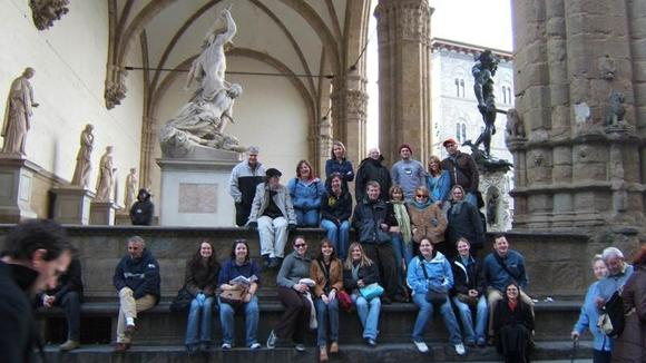 Happy UMMers at the Loggia dei Lanzi, Florence (UMM Spring Break Trip)