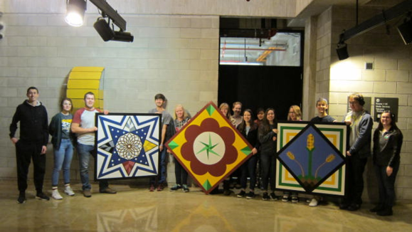 Art history Intellectual Community students create symbolic barn quilts for UMM Seed Barn.