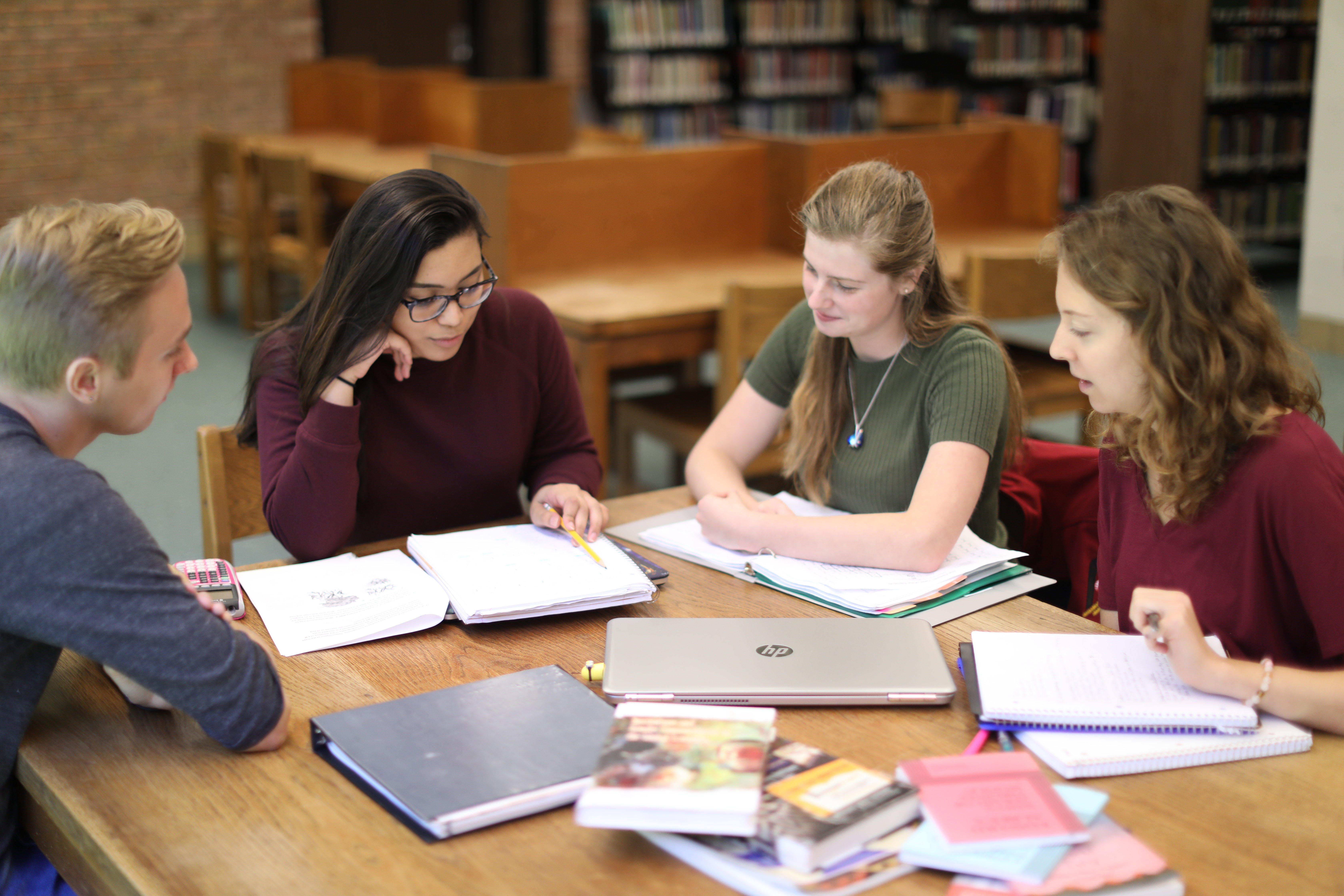 Four students in a tutoring session