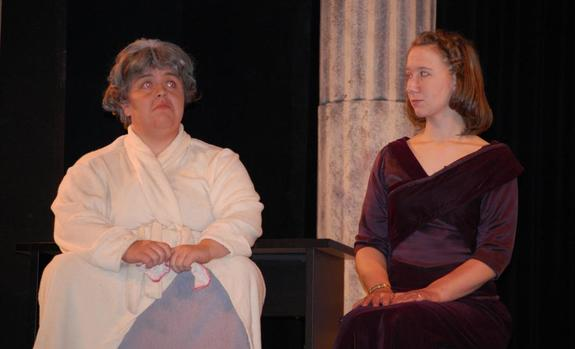 Two actresses onstage
