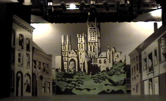 A theatre set of a castle