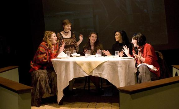 Five actresses onstage